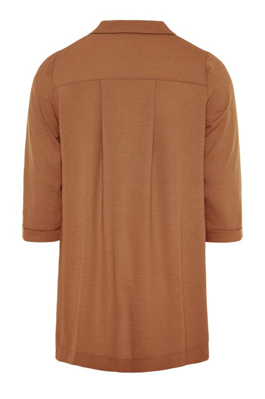 THE LIMITED EDIT Brown Open Collar Blouse_BK.jpg