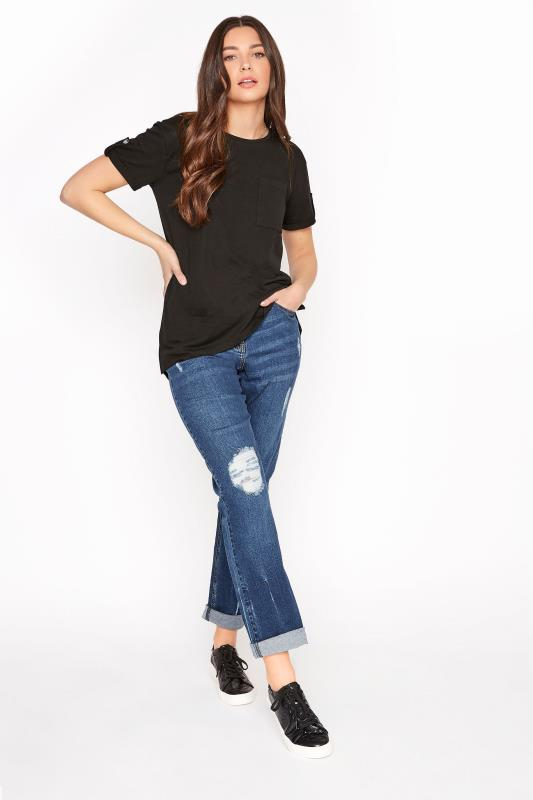 Tall  LTS Blue Ripped Mom Jeans