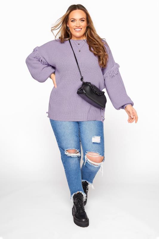 Lilac Purple Tassel Sleeve Chunky Knitted Jumper_B.jpg