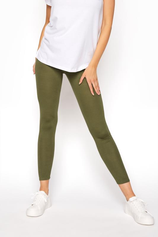 Khaki Cropped Jersey Leggings