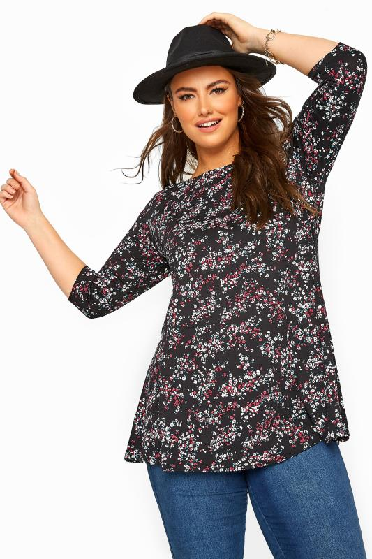 Plus Size  Black Floral Jersey Longline Top