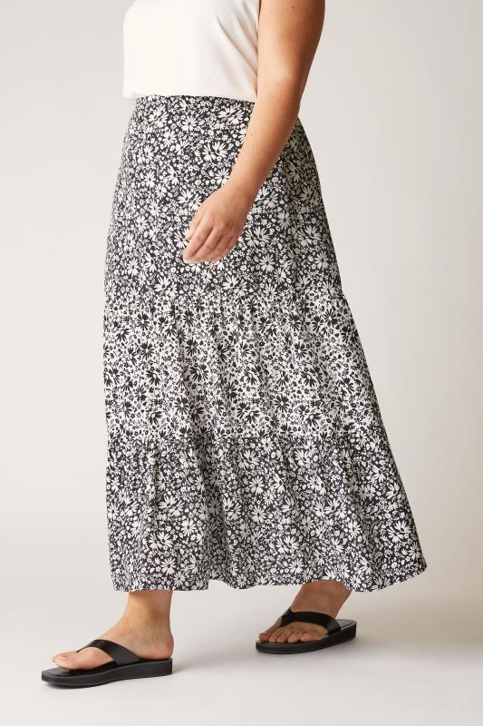 THE LIMITED EDIT Black Floral Tiered Smock Maxi Skirt_B.jpg