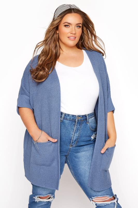 Plus Size  Dusty Blue Turn Up Sleeve Cardigan