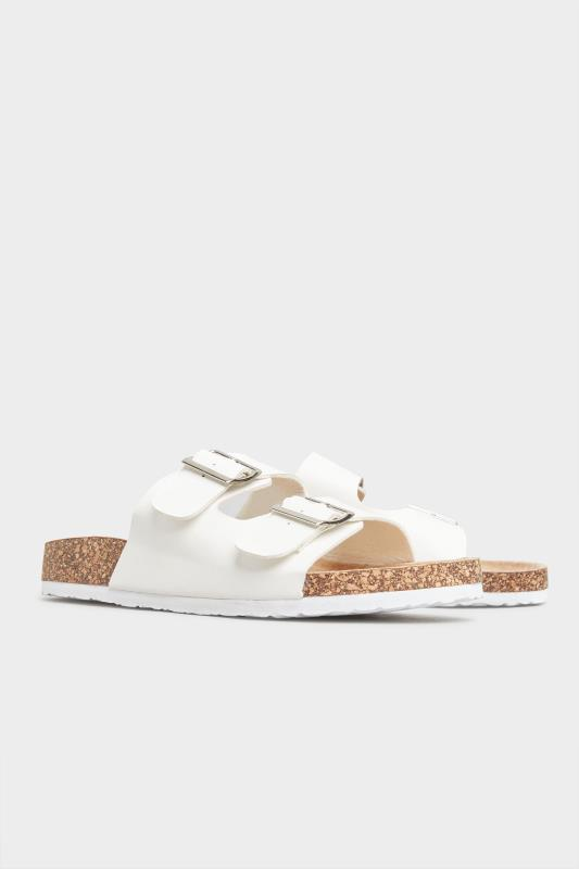 White Buckle Strap Footbed Sandals In Extra Wide Fit_B.jpg