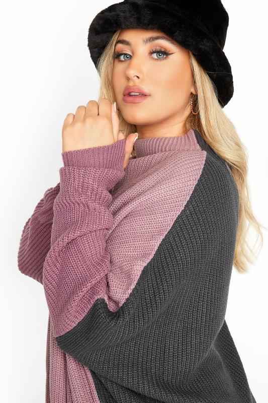 Purple Colour Block Oversized Knitted Jumper_D.jpg