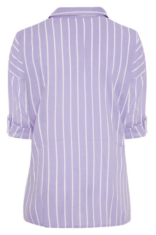 Lilac Striped Oversized Drop Shoulder Shirt_BK.jpg