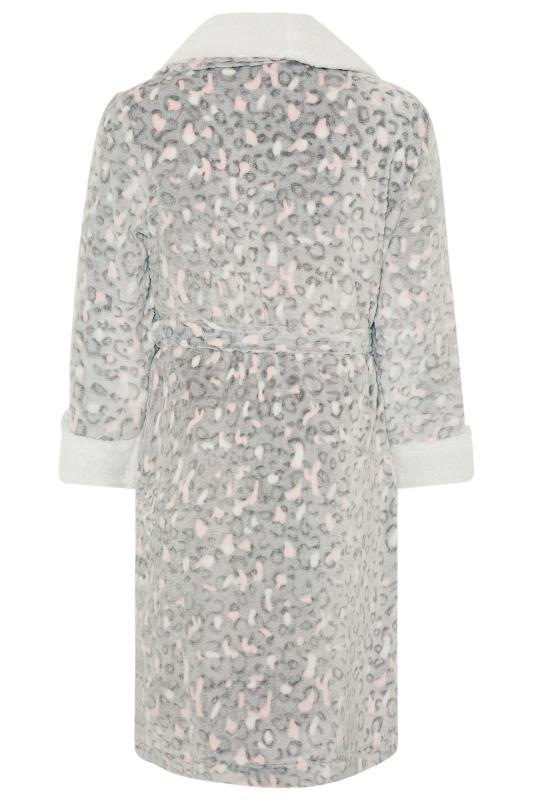 Grey Animal Print Faux Fur Dressing Gown
