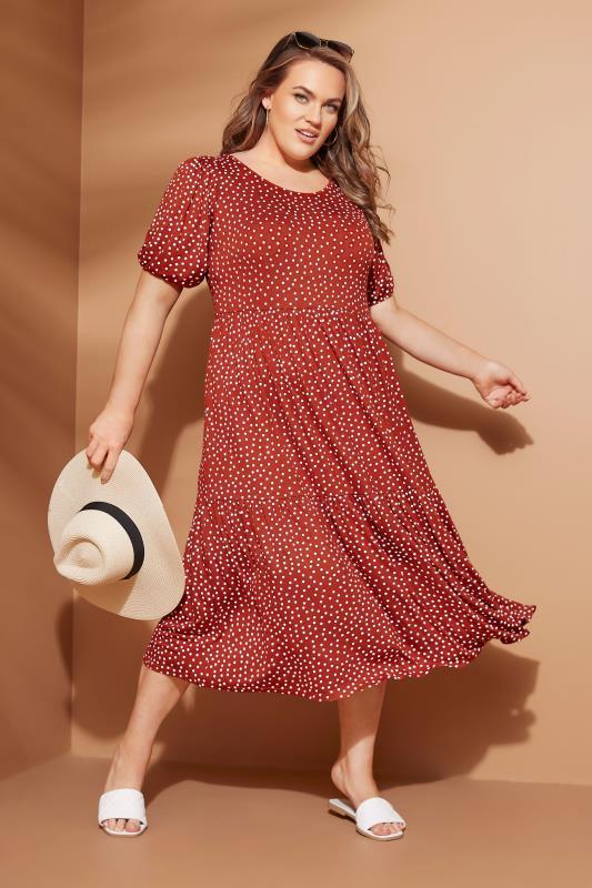 Rust Spot Print Puff Sleeve Midaxi Dress_L.jpg