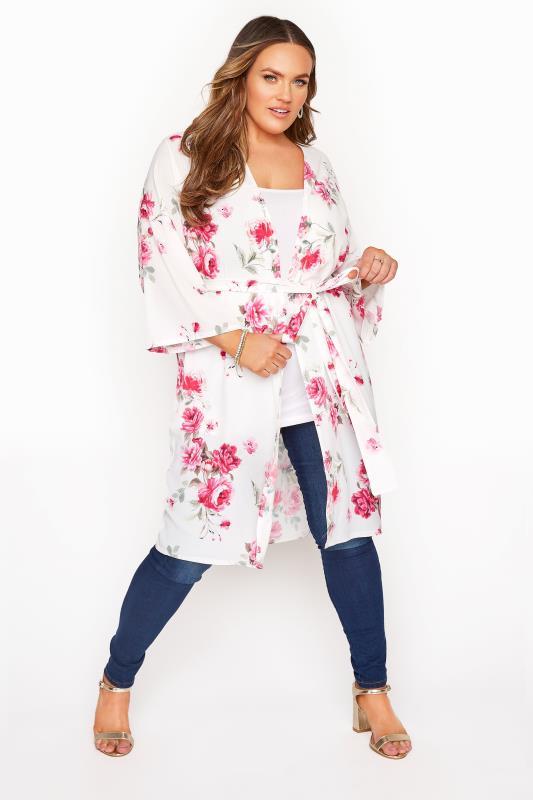 Plus Size  YOURS LONDON White Floral Kimono