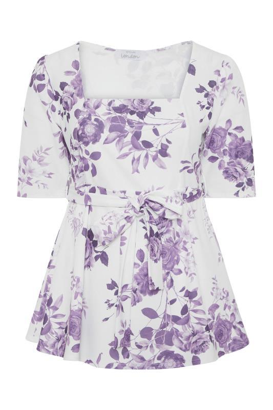YOURS LONDON Purple Flower Square Neck Peplum Top_F.jpg