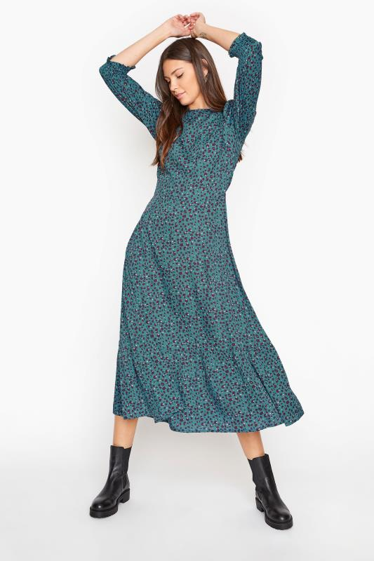 Tall  LTS Teal Blue Animal Print Smock Midi Dress