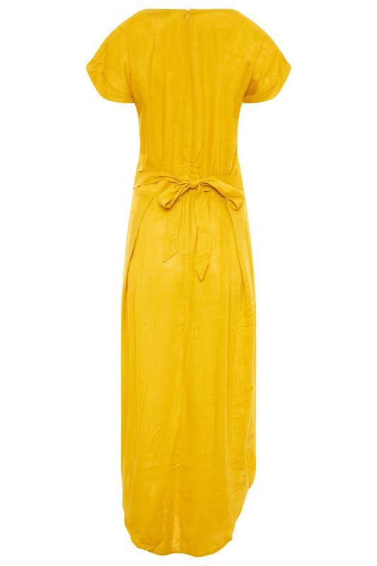 LTS Yellow Linen Blend Button Front Tulip Dress_BK.jpg