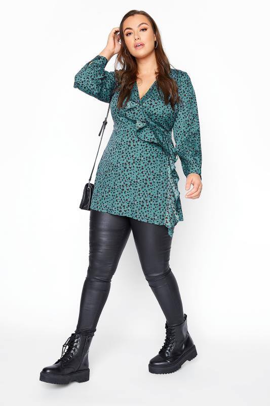 YOURS LONDON Teal Blue Animal Print Wrap Blouse