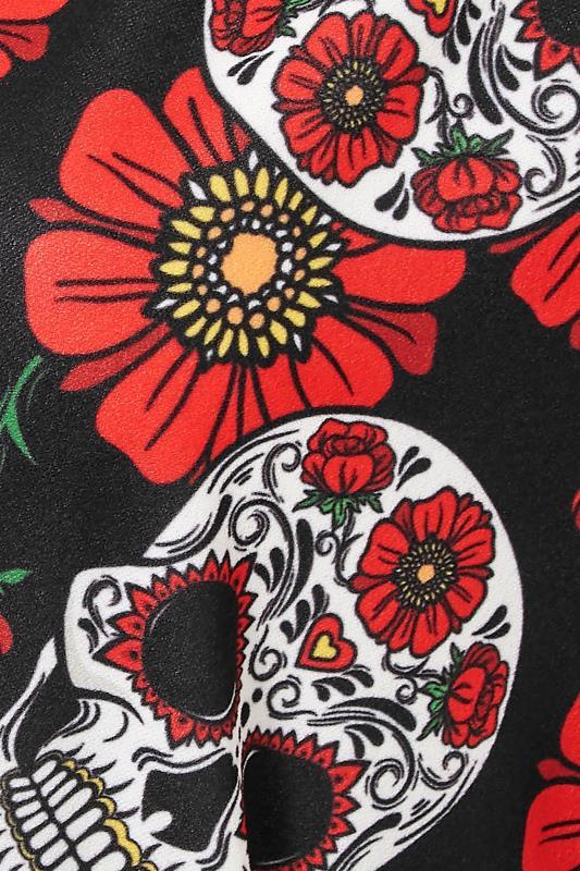 YOURS LONDON Black Mexican Skull Wrap Halloween Midi Dress_S.jpg
