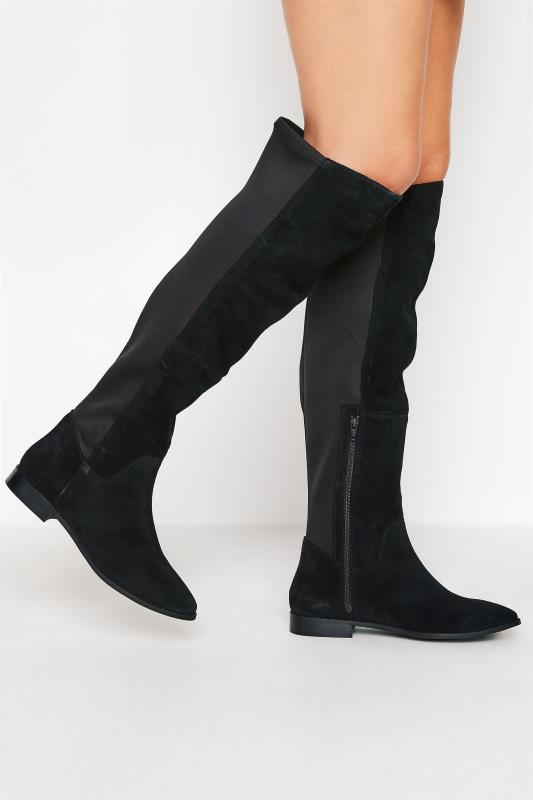 Tall  LTS Black Suede Stretch Knee High Boots