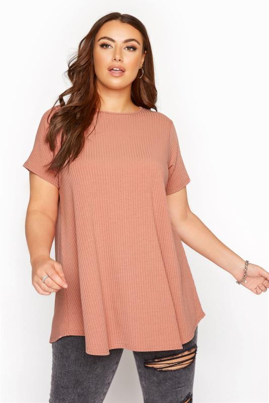 Plus Size  LIMITED COLLECTION Dusky Pink Ribbed Swing T-Shirt