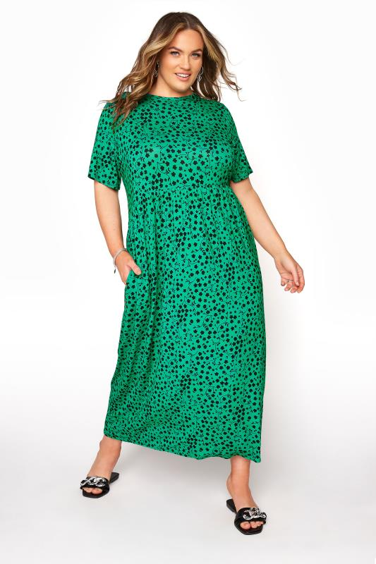 Grande Taille LIMITED COLLECTION Green Floral Pocket Dress