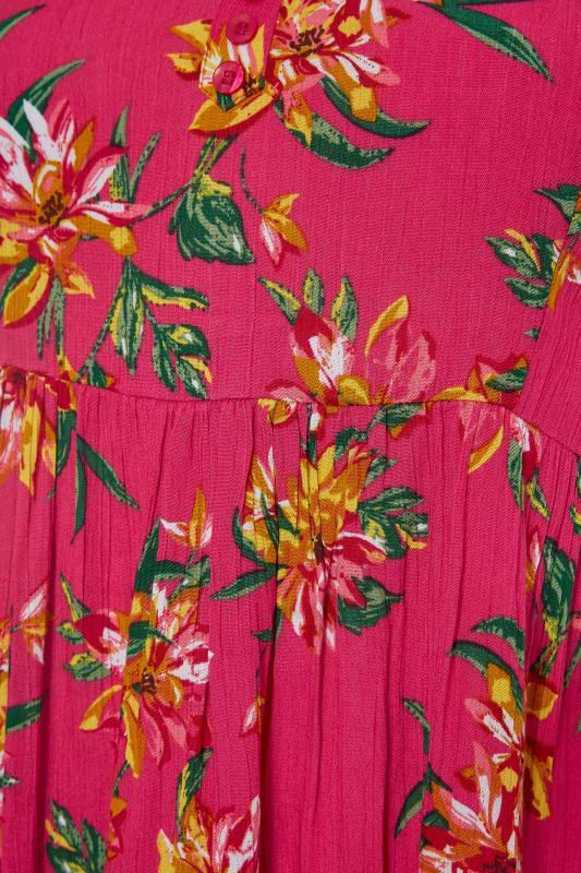 Pink Floral Strappy Crinkle Dress_S.jpg