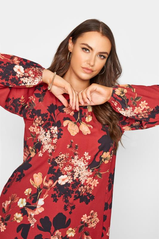 YOURS LONDON Red Floral Balloon Sleeve Blouse_D.jpg