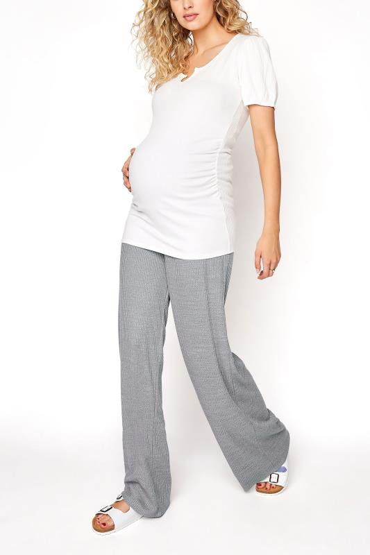 Tall  LTS Maternity Grey Ribbed Wide Leg Trousers