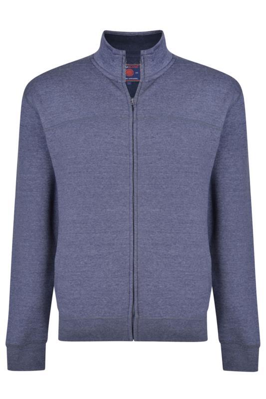 Men's Sweatshirts KAM Blue Zip Through Sweatshirt