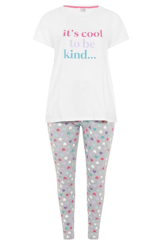 White 'It's Cool To Be Kind' Heart Pyjama Set_F.jpg