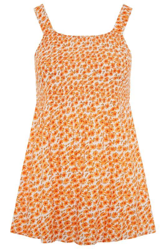Orange Floral Shirred Smock Vest Top_F.jpg