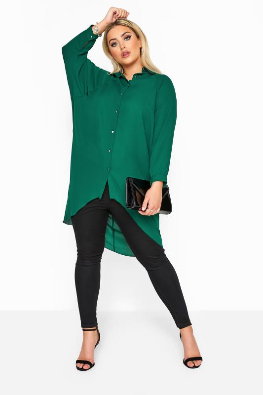 YOURS LONDON Bottle Green Oversized Dipped Hem Shirt
