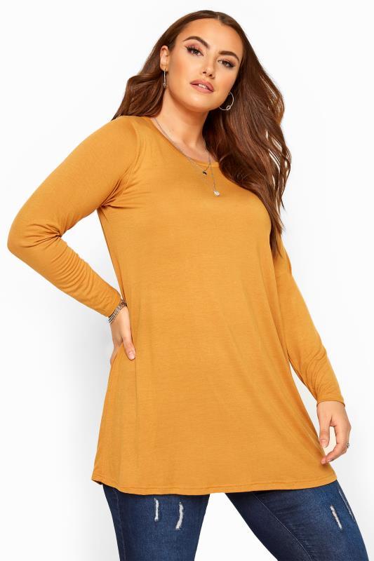 Mustard Long Sleeved Swing Top
