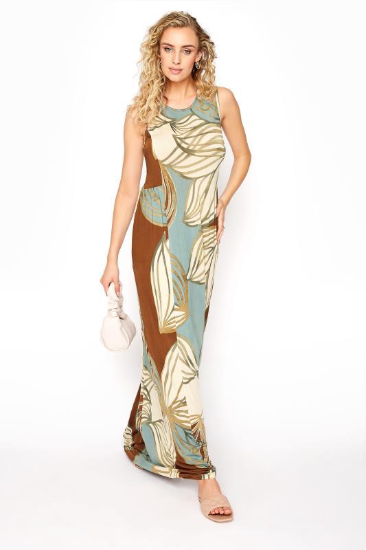 LTS Multicoloured Leaf Print Panelled Sleeveless Maxi Dress_B.jpg