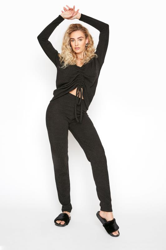 LTS Black Ribbed Ruched Co-ord Top