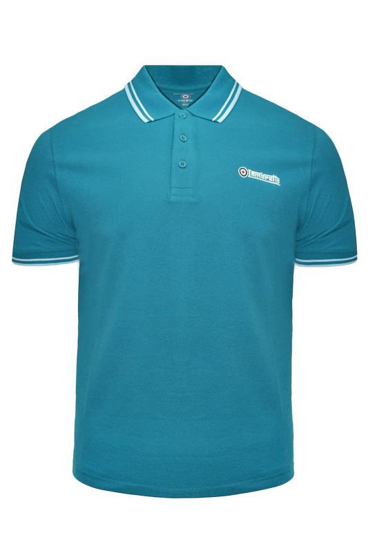 Plus Size  LAMBRETTA Teal Blue Contrast Tipped Polo Shirt
