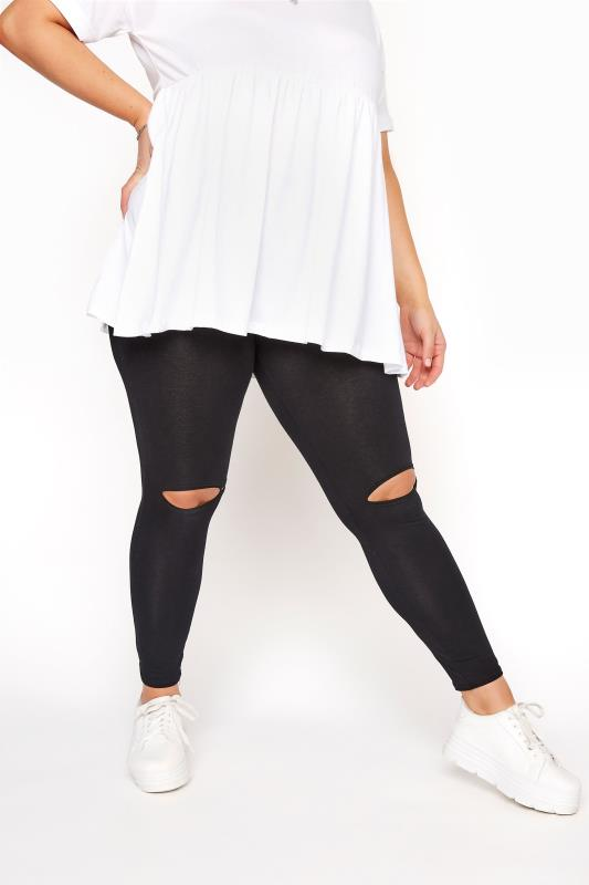 Black Ripped Knee Leggings