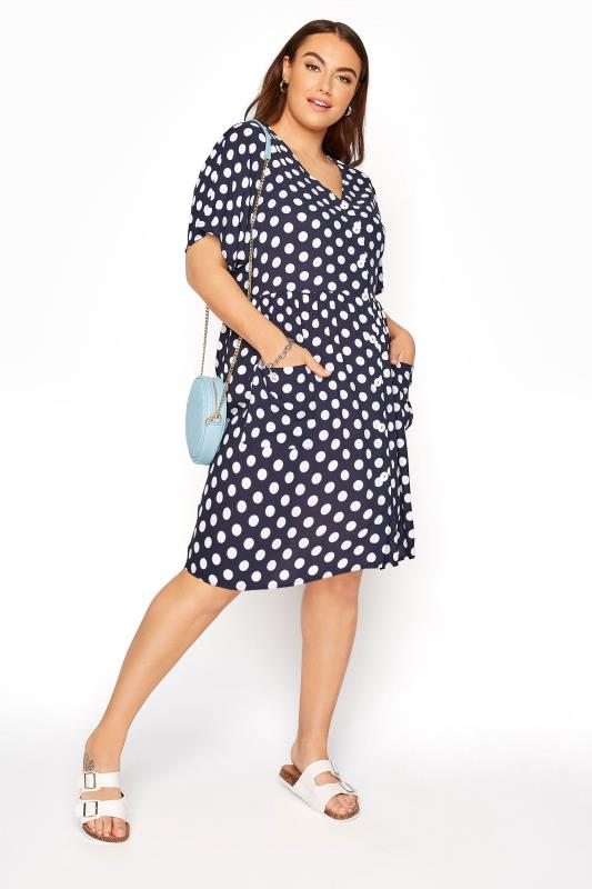 Plus Size  Navy Polka Dot Drop Pocket Smock Dress