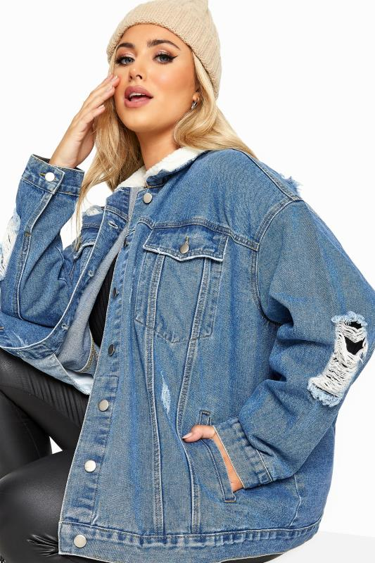 Plus Size  Blue Distressed Teddy Collar Denim Jacket