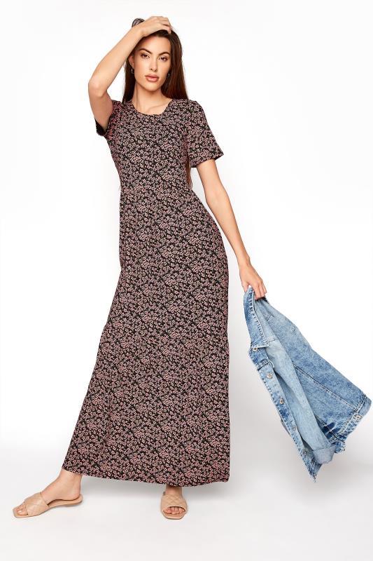 Tall  LTS Black Ditsy Midaxi Tiered Dress