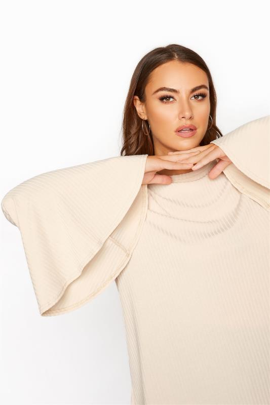 LIMITED COLLECTION Nude Ribbed Flare Sleeve Top