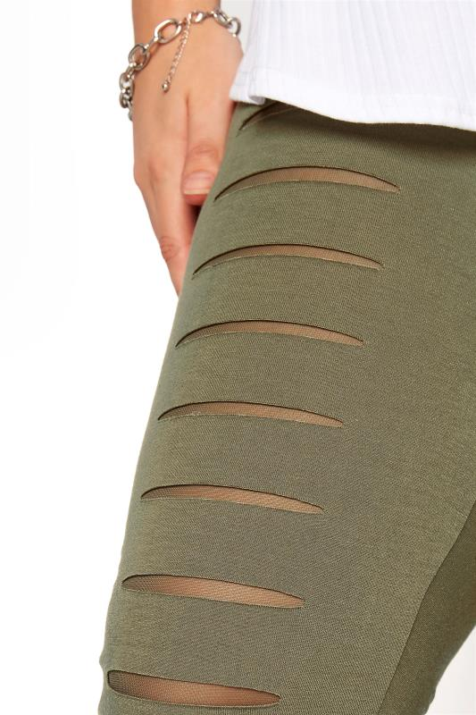 Khaki Ripped Mesh Insert Cropped Leggings_D.jpg
