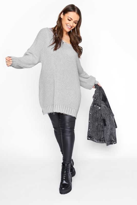 Grey Distressed Oversized Knitted Jumper