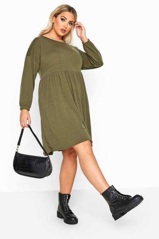 Plus Size Casual Dresses LIMITED COLLECTION Khaki Peplum Sweatshirt Dress
