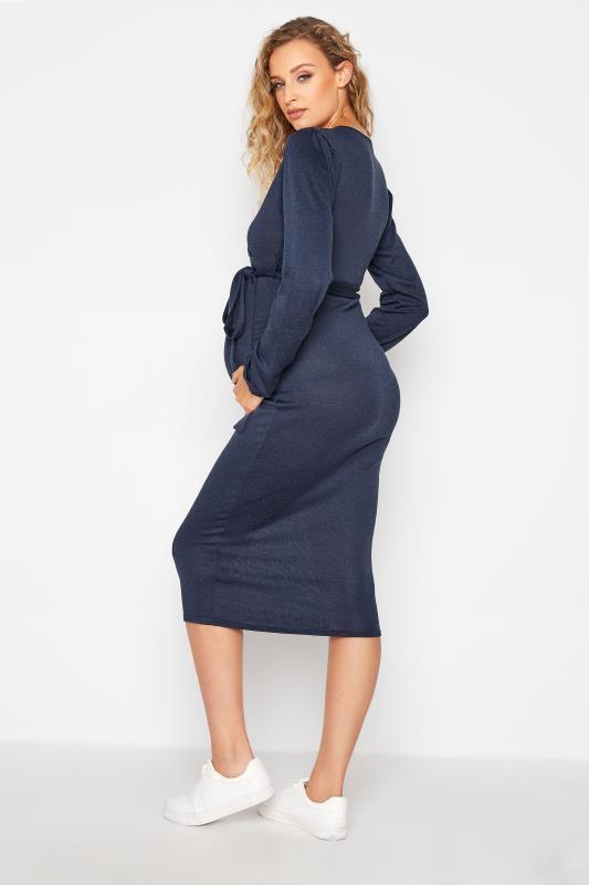 LTS Maternity Navy Wrap Ruched Midi Dress_C.jpg