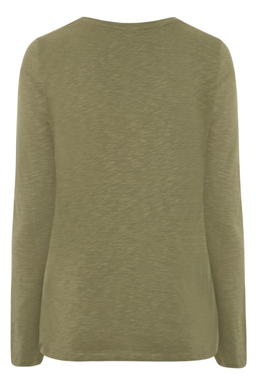 Khaki Cotton V-Neck Long Sleeve Top