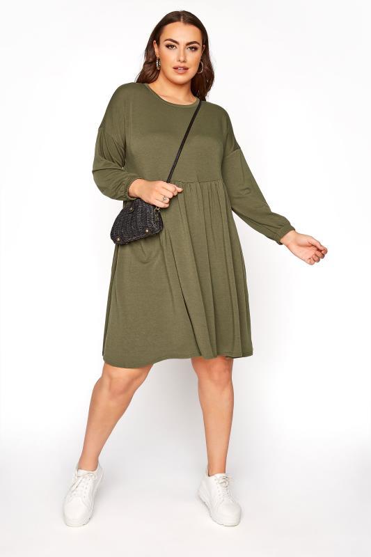 LIMITED COLLECTION Khaki Peplum Sweatshirt Dress