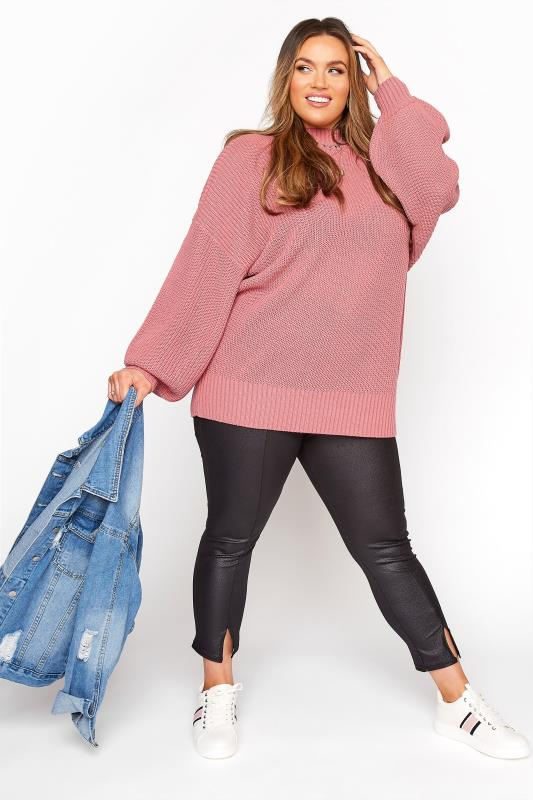 Pink Oversized Balloon Sleeve Knitted Jumper