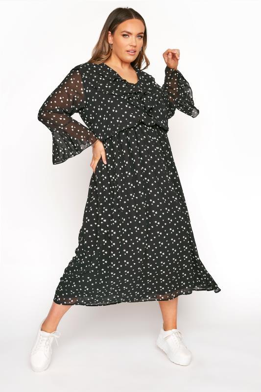 LIMITED COLLECTION Black Chiffon Star & Heart Frill Midi Dress_B.jpg