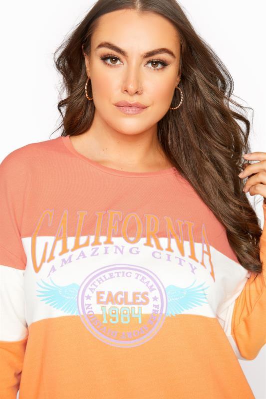 Orange Colour Block 'California' Slogan Sweatshirt_D.jpg