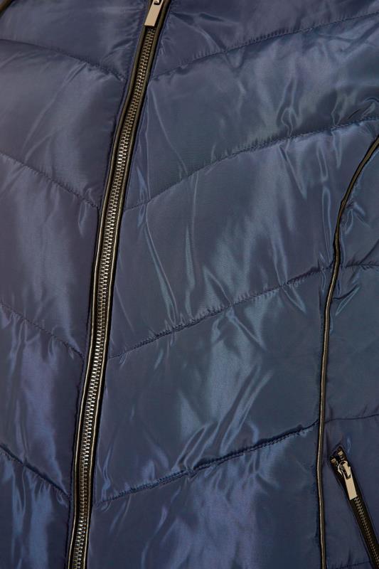 Navy PU Faux Fur Trim Panelled Puffer Jacket_S.jpg