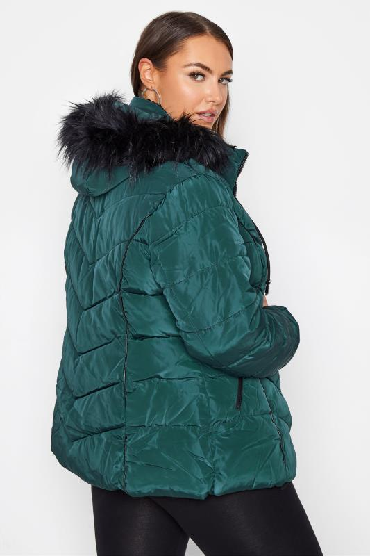 Green PU Trim Panelled Puffer Jacket_C.jpg