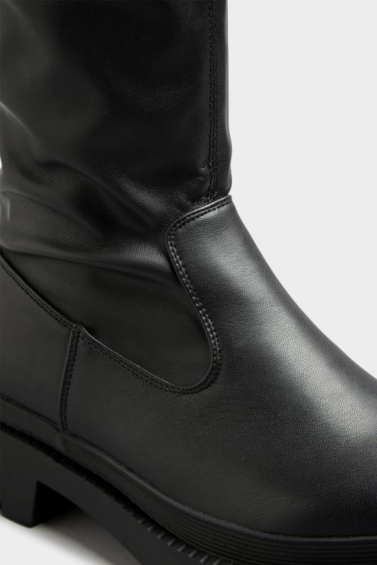 LIMITED COLLECTION Black Over The Knee Cleated Boots In Extra Wide Fit_D.jpg