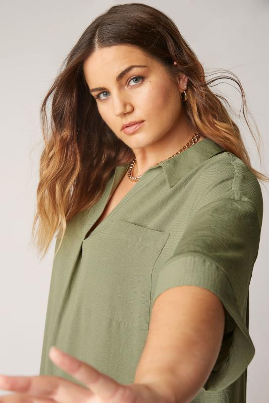 THE LIMITED EDIT Olive Green Pleated Front Top_D.jpg